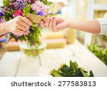 female florist taking credit... | Shutterstock . vector #277583813