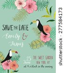 vintage wedding invitation with ... | Shutterstock .eps vector #277584173