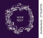 vector floral line frame design ... | Shutterstock .eps vector #277618733