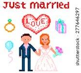 set in style pixel art  wedding ... | Shutterstock .eps vector #277646297