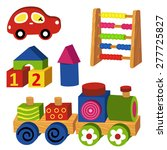 colorful wooden toys   vector...