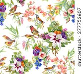 Stock vector watercolor wild exotic birds on flowers seamless pattern on white background vector illustration 277753607