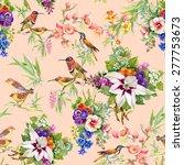 watercolor wild exotic birds on ... | Shutterstock .eps vector #277753673