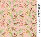 watercolor wild exotic birds on ... | Shutterstock .eps vector #277753733