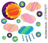 sun and clouds and stars.... | Shutterstock .eps vector #277797077