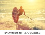silhouette of active surfer on... | Shutterstock . vector #277808063