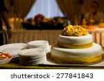 wedding cake with yellow roses... | Shutterstock . vector #277841843