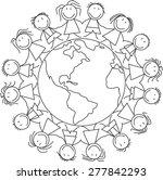 kids world   children on globe  ... | Shutterstock . vector #277842293