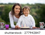 mother and boy  celebrating his ... | Shutterstock . vector #277942847
