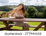 young attractive woman  reading ... | Shutterstock . vector #277944143