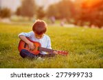 adorable boy with guitar ... | Shutterstock . vector #277999733