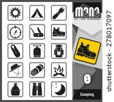 mono icons   camping 1. flat... | Shutterstock .eps vector #278017097