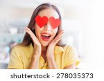 emoji concept  woman with the... | Shutterstock . vector #278035373