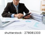 Small photo of Cropped image of male accountant working with papers