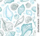 Beach Seashell Pattern. Vector...