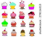 set of cupcakes | Shutterstock . vector #278116313