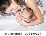 newborn baby girl lying on her... | Shutterstock . vector #278149217