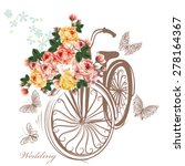 bicycle with basket fully of... | Shutterstock .eps vector #278164367
