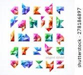 polygonal font  alphabet vector ... | Shutterstock .eps vector #278186897
