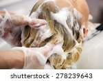 Hairdresser Washing Hair For A...