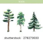 Set Of Watercolor Trees. Birch...