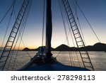 Постер, плакат: Sailboat Sunrise Sunrise aboard