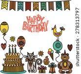 happy birthday greeting card... | Shutterstock . vector #278313797