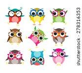 set of nine cartoon owls with... | Shutterstock .eps vector #278316353