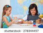 kids painting the planets in... | Shutterstock . vector #278344457