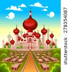 landscape with arabian castle.... | Shutterstock .eps vector #278354087