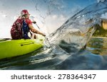 young lady paddling hard the... | Shutterstock . vector #278364347