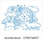 doodle clouds and rainbow  hand ... | Shutterstock .eps vector #278376857