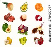 tropical fruit vector set | Shutterstock .eps vector #278407097