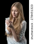 young pretty girl enjoying chat ... | Shutterstock . vector #278451323