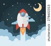 cartoon modern flat rocket... | Shutterstock .eps vector #278602313