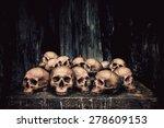 pile of human skulls on stone... | Shutterstock . vector #278609153