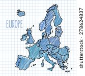 pen hand drawn europe map... | Shutterstock .eps vector #278624837