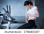 woman riding an exercise bike... | Shutterstock . vector #278683187