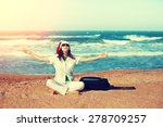 happy young woman wearing santa ... | Shutterstock . vector #278709257