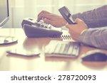 businessman dialing voip phone... | Shutterstock . vector #278720093