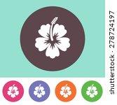 Vector Hibiscus Flower Icon On...