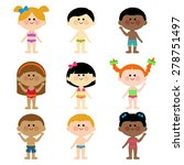 kids in swimsuits vector set. | Shutterstock .eps vector #278751497