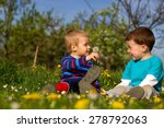 two little boys sitting in the... | Shutterstock . vector #278792063
