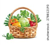Basket With Vegetables Isolate...