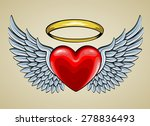 Red Heart With Angel Wings And...