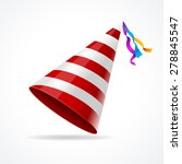 vector striped party hat... | Shutterstock .eps vector #278845547