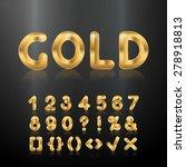 golden set of metallic shiny 3d ...   Shutterstock .eps vector #278918813