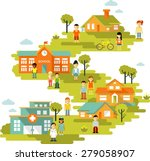 small town urban cityscape... | Shutterstock .eps vector #279058907