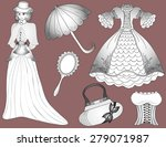 vintage fashion set woman in... | Shutterstock . vector #279071987