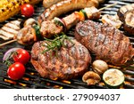 assorted delicious grilled meat ... | Shutterstock . vector #279094037
